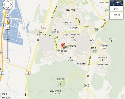 מפה של שכונת נוה ברון בזכרון יעקב (צילום: google maps)