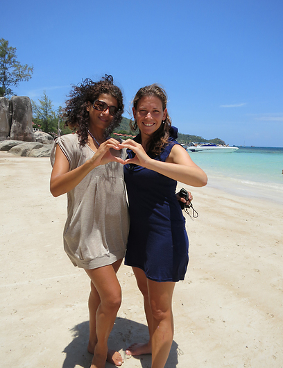 Ella and a friend in Thailand