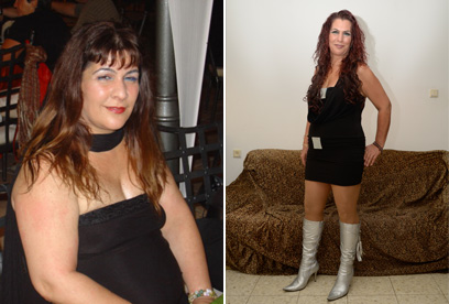 """""""נכנסתי לסחרור"""". רויטל חיים לפני הדיאטה (שמאל) ואחרי ()"""