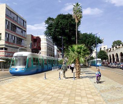 הדמיית הרכבת הקלה בשדרות יפו בירושלים ()