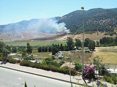 תחילת השריפה ביום רביעי בכרמל (צילום: אורי טמל) (צילום: אורי טמל)
