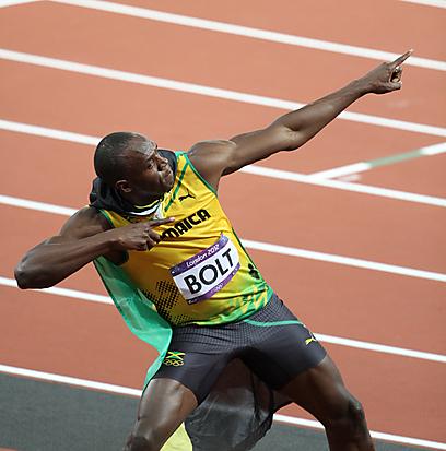 שלוש מדליות זהב, שיא עולם ואגו בשמיים. אוסיין בולט (צילום: אורן אהרוני) (צילום: אורן אהרוני)