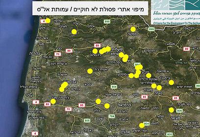 מיפוי אתרי הפסולת בגליל (באדיבות עמותת אזרחים למען הסביבה) (באדיבות עמותת אזרחים למען הסביבה)