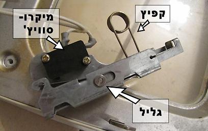 מנגנון הסגירה של הדלת (צילום: עידו גנדל) (צילום: עידו גנדל)