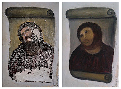 """רצתה להפיח בציור רוח חיים. הציור לפני ואחרי ה""""שחזור"""" (צילום: רויטרס)"""