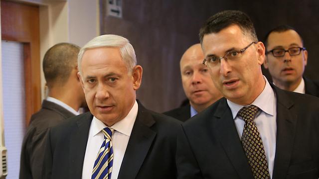 Netanyahu and Sa'ar (Photo: Alex Kolomoisky)