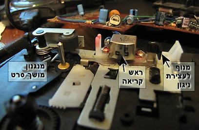 מבט מקרוב מכיוון הקלטת על חלקים במנגנון  (צילום: עידו גנדל) (צילום: עידו גנדל)