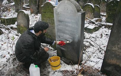 משפץ קברים בפולין  (צילום: מאיר אלפסי) (צילום: מאיר אלפסי)