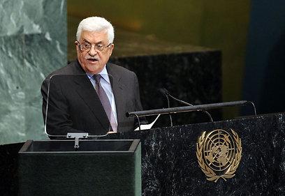 """""""שולט בזכות צה""""ל"""". אבו מאזן באו""""ם (צילום: AFP) (צילום: AFP)"""