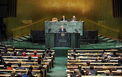 """""""קו אדום ייתן זמן לעוד דיפלומטיה"""". נתניהו בעצרת האו""""ם (צילום: EPA) (צילום: EPA)"""