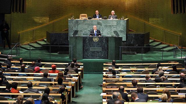 """לא פורום ידידותי לישראל. ראש הממשלה נתניהו בעצרת האו""""ם (צילום: EPA)"""