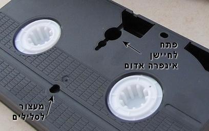החלק התחתון של קלטת וידאו (צילום: עידו גנדל) (צילום: עידו גנדל) (צילום: עידו גנדל)