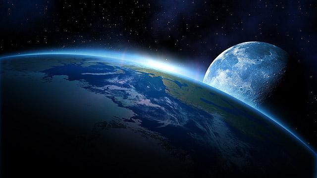 כדור הארץ והירח. הדמיה (צילום: shutterstock)