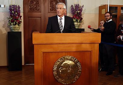 """""""האיחוד תרם לפיוס"""". יו""""ר ועדת הפרס יאגלנד, היום  (צילום: AFP) (צילום: AFP)"""