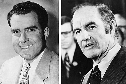 הנשיא הרפובליקני גרף 520 אלקטורים. מקגוורן וניקסון (צילום: Gettyimages) (צילום: Gettyimages)