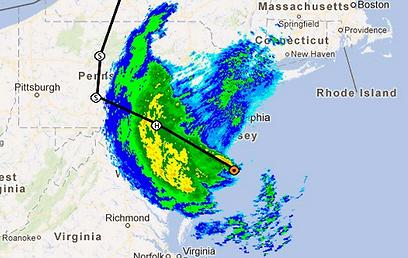 התקדמות הסופה, מעט לפני חצות (מפה: WNYC) (מפה: WNYC)