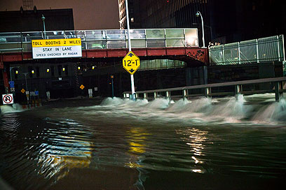 Flooded tunnel in NYC on Monday (Photo: AFP)