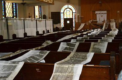 """""""זה שבר לגמרי את הקהילה היהודית"""". ספרי התורה פרושים לייבוש (צילום: רותה אוקונוב) (צילום: רותה אוקונוב)"""
