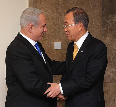 """ראש הממשלה נתניהו עם מזכ""""ל האו""""ם באן קי-מון, הערב (צילום: אבי אוחיון, לע""""מ) (צילום: אבי אוחיון, לע"""