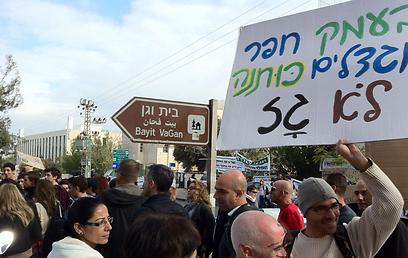 ההפגנה נגד מתקני גז באזורים מיושבים, היום (צילום: אורן אהרוני) (צילום: אורן אהרוני)