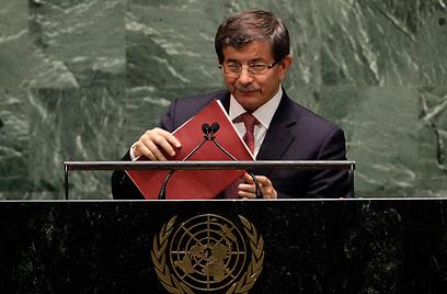 """שר החוץ הטורקי בעצרת האו""""ם (צילום: AP) (צילום: AP)"""