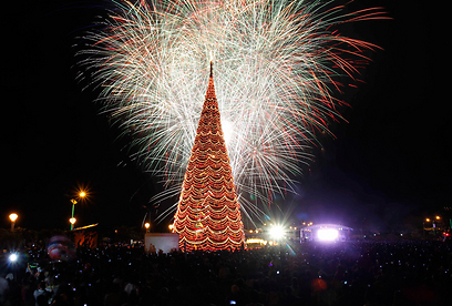 זיקוקים מעל העץ בפיליפינים (צילום: רויטרס) (צילום: רויטרס)