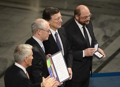 """""""האיחוד האירופי הוא מטרה שהוכיחה את עצמה"""". טקס קבלת הפרס באוסלו (צילום: AFP) (צילום: AFP)"""
