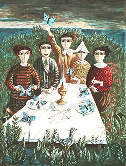 """""""אוכלי הפרפרים"""", שצייר יוסל ברגנר. השראה למחזה של ניסים אלוני (ציור: יוסל ברגנר ) (ציור: יוסל ברגנר )"""