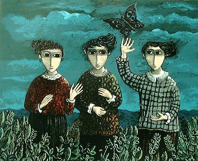 """""""שלושת הבנות והפרפר"""". ליטוגרפיה מאת יוסל ברגנר העוסקת בהוויה החלוצית (ציור: יוסל ברגנר ) (ציור: יוסל ברגנר )"""