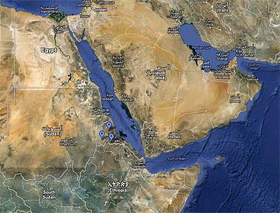 אריתריאה והאזור. האיום הביטחוני המרכזי - אתיופיה (צילום: google map) (צילום: google map)