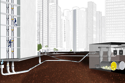 הדמיית מערכת פינוי האשפה (צילום: באדיבות ENVAC) (צילום: באדיבות ENVAC)