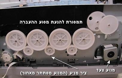 מנועים וגלגלי שיניים בדופן מדפסת משולבת גדולה  (צילום: עידו גנדל ) (צילום: עידו גנדל )
