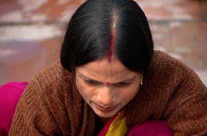 סינדור - סימן הנישואין ההודי (צילום: יותם יעקבסון) (צילום: יותם יעקבסון)