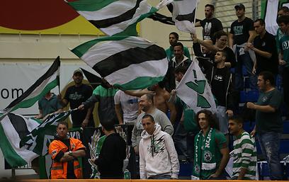 אוהדי מכבי חיפה מנסים לתת לירוקים אווירה ביתית (צילום: אורן אהרוני) (צילום: אורן אהרוני)