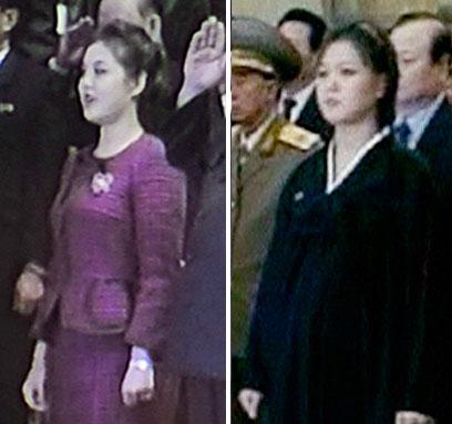 מצאו את ההבדלים. רי סול ג'ו עם בטן בולטת (מימין) ובגזרה דקה יחסית (צילום: AFP, NORTH KOREAN TV, רויטרס) (צילום: AFP, NORTH KOREAN TV, רויטרס)