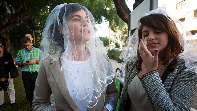 Tamar Zandberg from Meretz Party during a protest calling for gay marriage in front of the Tel Aviv Rabbinate (Benny Doitch)