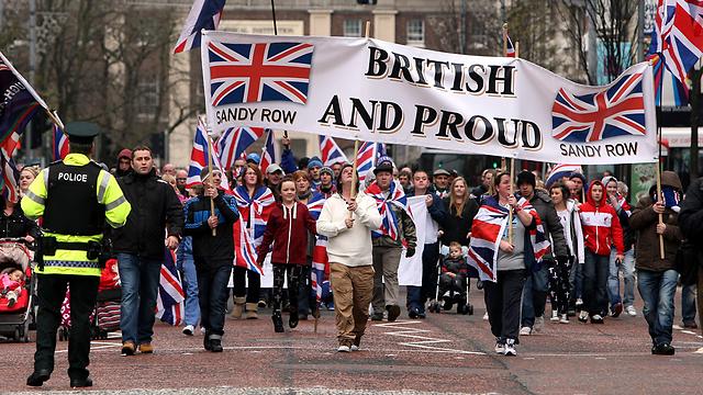 רוצים להישאר חלק מבריטניה. מפגינים בצפון אירלנד (צילום: AP)