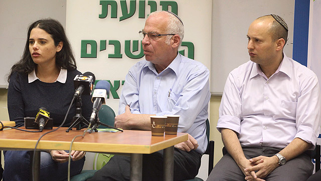 Bayit Yehudi seeking ministries for Bennett (right), Ariel (center) and Shaked (left) (Photo: Motti Kimchi)