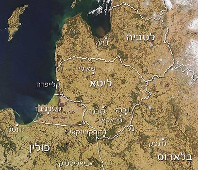 מפת ליטא (באדיבות: Jeff Schmaltz, Modis, NASA) (צילום:  עמרי גלפרין, טבע הדברים) (צילום:  עמרי גלפרין, טבע הדברים)