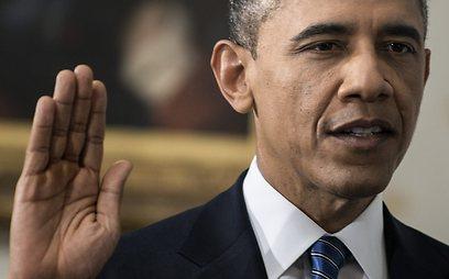אובמה נשבע למלא תפקידו נאמנה ולהגן על החוקה (צילום: AP) (צילום: AP)