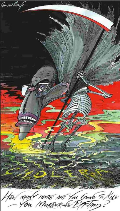 מוגאבה כמלאך המוות (איור: ג'ראלד סקארף, סאנדיי טיימס) (איור: ג'ראלד סקארף, סאנדיי טיימס)