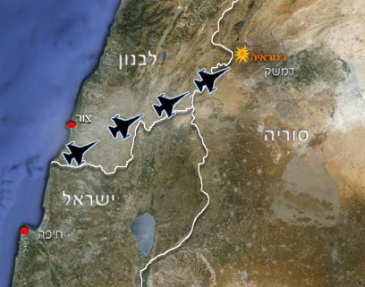 המסלול שבו טסו המטוסים הישראליים? ()