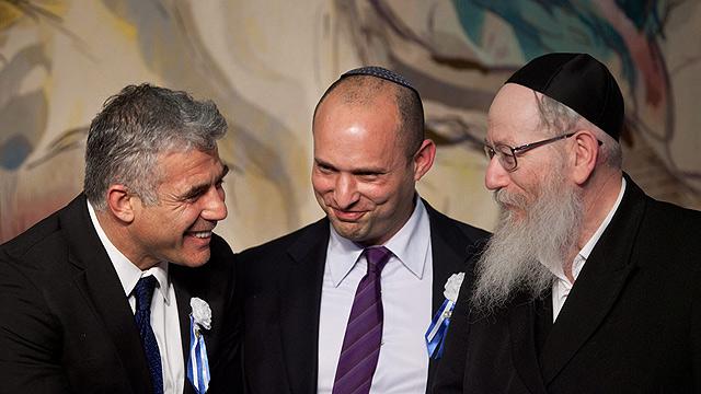ליצמן, בנט ולפיד - בפתיחת מושב הכנסת  (צילום: Gettyimages) (צילום: Gettyimages)