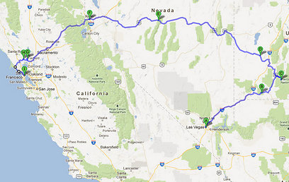 מסלול הנסיעה מווגאס לסן פרנסיסקו. בחורנו הגיע בשלום (צילום: ליאור קורן) (צילום: ליאור קורן)