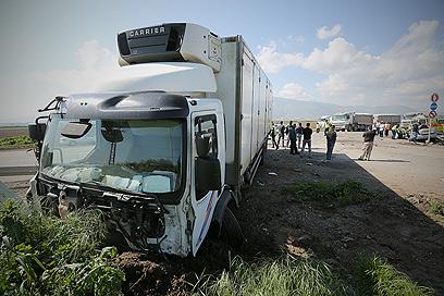התאונה ליד בית שאן (צילום: חגי אהרון) (צילום: חגי אהרון)