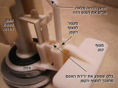 המצוף והמעצור להדחה מלאה בניאגרה עם פעולה כפולה   (צילום: עידו גנדל ) (צילום: עידו גנדל )