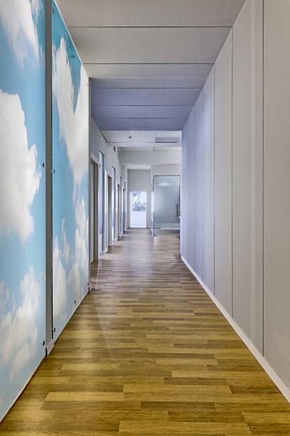 משרדי חברת תעופה, כניסה מדמה שרוול כניסה למטוס (צילום: קטיה לין) (צילום: קטיה לין)