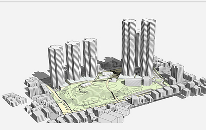 """הדמיית תוכנית הדיור במקום השלישות הראשית ברמת גן (צילום: באדיבות ניר-קוץ אדריכלים בע""""מ) (צילום: באדיבות ניר-קוץ אדריכלים בע"""