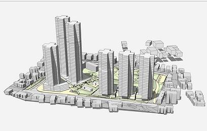 """הדמיית התוכנית בשלישות הראשית. מבט ממזרח (צילום: באדיבות ניר-קוץ אדריכלים בע""""מ)"""