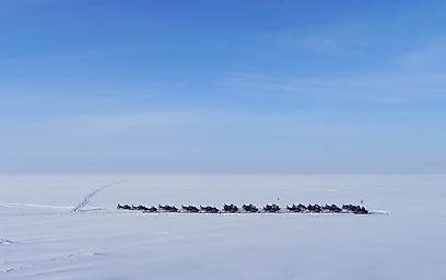 לתת גז בלבן. אופנועי שלג חונים על הים הבוטני הקפוא (צילום: זיו ריינשטיין) (צילום: זיו ריינשטיין)